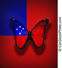 Samoa flag butterfly, isolated on flag background