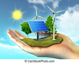 Renewable energy sources. Digital illustration.