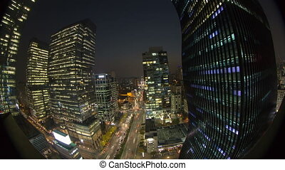 Seoul City 33 - 33) Time lapse of traffic and architecture...