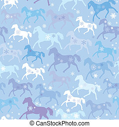 Seamless pattern with wild horses and snowflakes on winter...