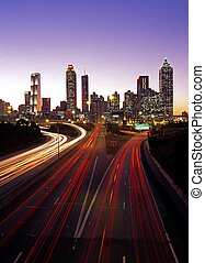 Skyline at dusk, Atlanta, USA - City skyline at dusk,...