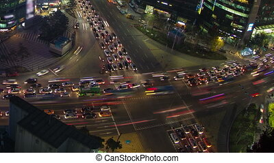 Seoul City Zoom 41 - 41) Zooming time lapse of traffic and...