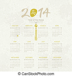 Year of the Horse - 2014 Calendar - Calendar for 2014, Year...
