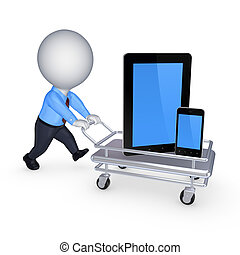 Tablet PC and cellphone on pushcartIsolated on white3d...