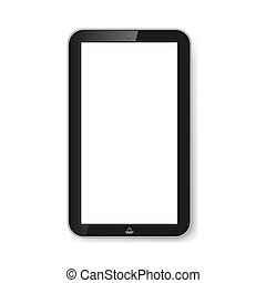 Tablet with blank screen.