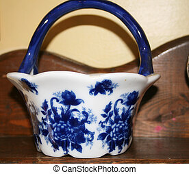 antique bowl with blue pattern