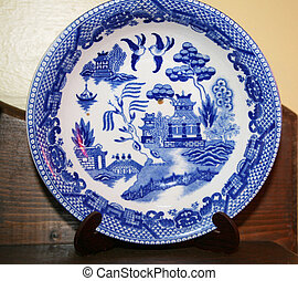 Antique plate - antique gator hall blue and whiteplate with...