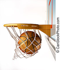 Basket ball centering the basket, close up view - Basket...