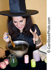 Witch making magic
