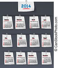 Calendar for 2014 on sticky notes attached with clip -...