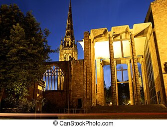 Old and new Cathedrals, Coventry. - Parts of the old and new...