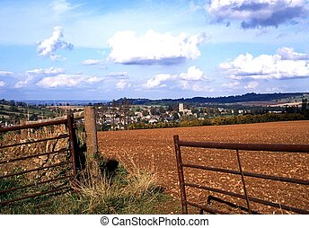 Farmland, Chipping Campden, UK. - Farm gate leading to the...