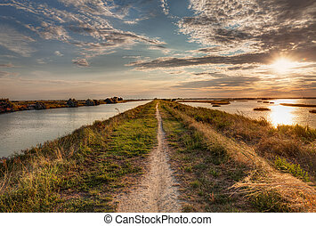 "natural reserve ""Valli di Comacchio"" in Italy - panorama at..."