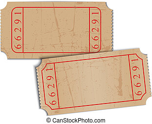 Vector vintage blank paper tickets - Vector Illustration of...