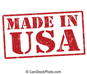 Made in USA stamp - Made in USA grunge ruber stamp on white...