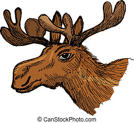 moose - hand drawn, cartoon, sketch illustration of moose