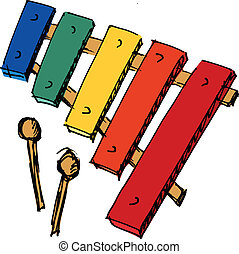xylophone - hand drawn, sketch, cartoon illustration of...