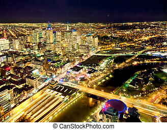 yarra river and melbourne at night - overview of melbourne...