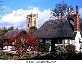 Thatched cottages, Welford-on-Avon. - Thatched cottages with...
