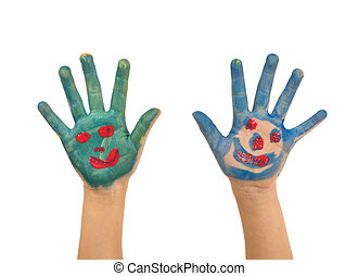 Childhood Painting - A pair of hands painted with faces