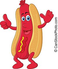 Hot dog cartoon character with thum