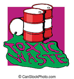 barrels of toxic waste vector illustration