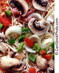 Raw Pizza Close Up - Raw pizza close up with mushrooms...