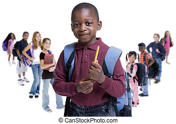 School Kids Diversity - Young kids are ready for school...