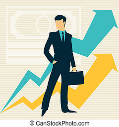 Businessman and growing statistics