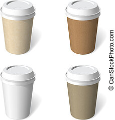 paper cup blank template vector set