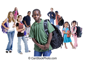 School Kids Diversity - Young kids are ready for school....