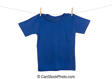 Hanging Tee shirt - A bright colored Tee Shirt hanging on a...