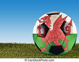 Welsh football - A football over grass decorated with Welsh...