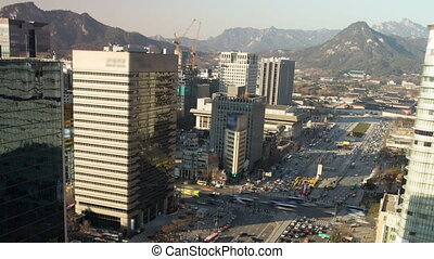 Seoul City Zoom 72 - 72) Zooming time lapse of downtown...