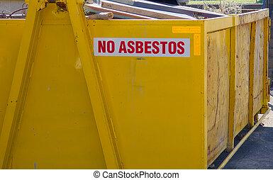no asbestos skip bin - Large yellow skip bin filled with...