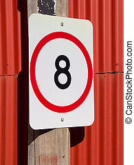 eight speed limit on red - eight kmhr speed restriction sign...