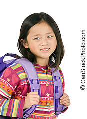 School Girl - a young asian school girl ready for school