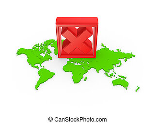 Red cross mark on a map.