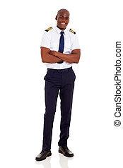 capitán, africano, cruzado, brazos, línea aérea