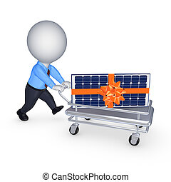 Solar battery on a pushcart.Isolated on white.3d rendered.