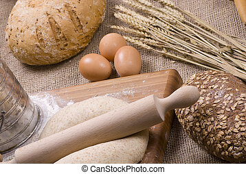 Baking bread - Preparing fresh homemade bread with whole...