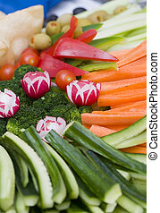 Vegetable Tray - A tray of fresh cut vegetables ready to be...