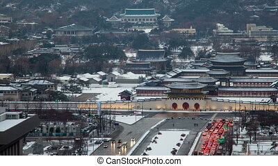 Seoul City 78 - 78) Time lapse of downtown palace in Seoul....