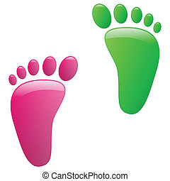 Children footprint - Illustration of childrens footprints on...