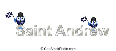 Saint Andrew text and patriotic bird waving flag isolated on...