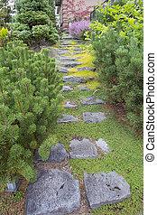 Natural Stone Steps to Frontyard Garden - Natural Stone...