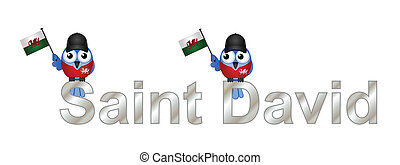 Saint David text and patriotic bird waving flag isolated on...