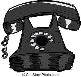 old phone - hand drawn, vector, sketch illustration of old...