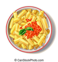 Macaroni plate with tomato sauce and basil, viewed from top....