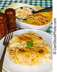Serving Fishermans pie table - Traditional Homemade...